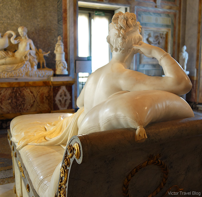 Antonio Canova's marble statue of Napoleon's sister Paolina Borghese Bonaparte. The Museo Borghese, Roma, Italy.
