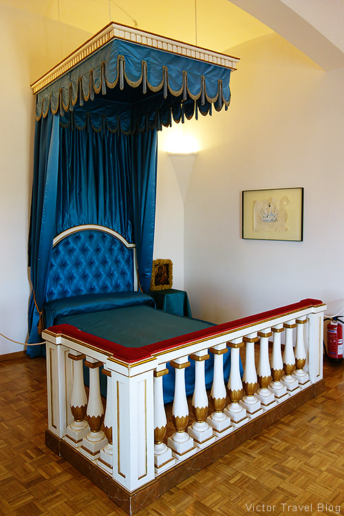 The bed of Gala Dali in the Pubol Castle. Catalonia, Spain.