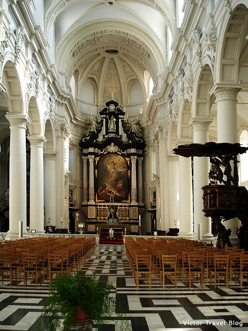 The elegant interior of the St. Walburga Church. Bruges, Belgium.