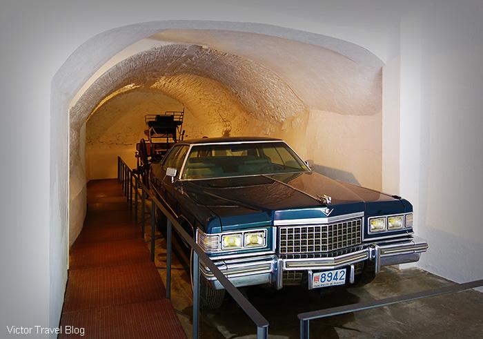 The cadillac of Salvador Dali and the hearse for Gala Dali. The Pubol Castle. Catalonia, Spain.