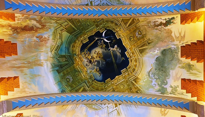 The decorated ceiling of the Pubol Castle. Catalonia, Spain.