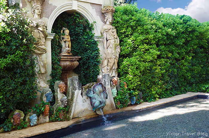 The fountain in the garden of the Pubol Castle. Catalonia, Spain.