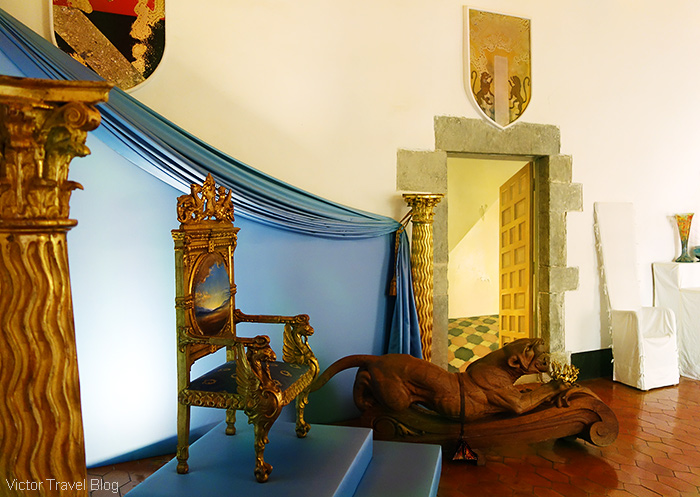 The throne of Gala Dali in the Castle of Pubol in Catalonia, Spain.