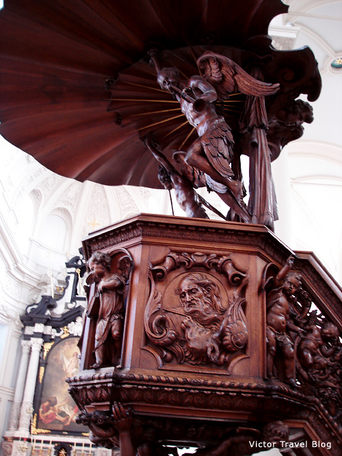 A wood carving in the St. Walburga Church. Bruges, Belgium.