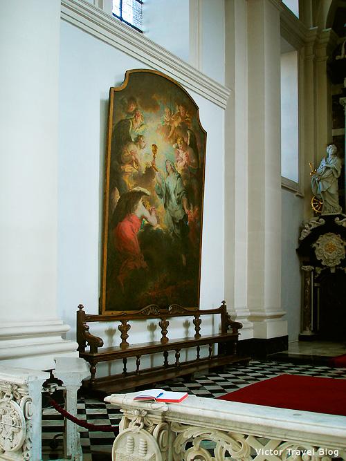 The interior of the St. Walburga Church. Bruges, Belgium.