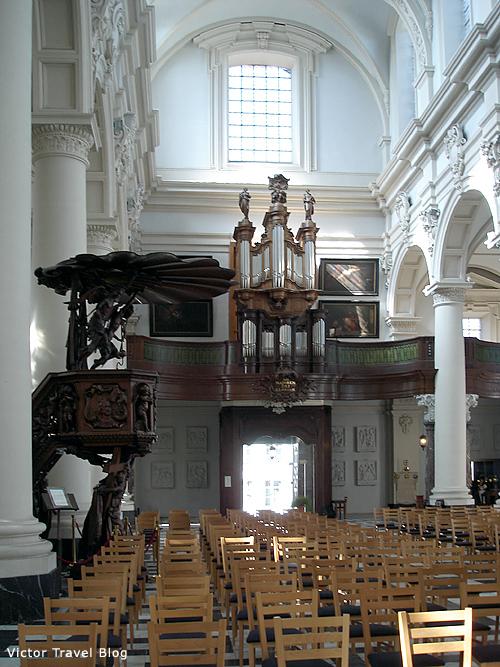Inside of the St. Walburga Church. Bruges, Belgium.