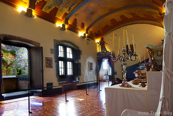 The throne room of the Castle of Pubol or Gala Dali's Castle in Catalonia.