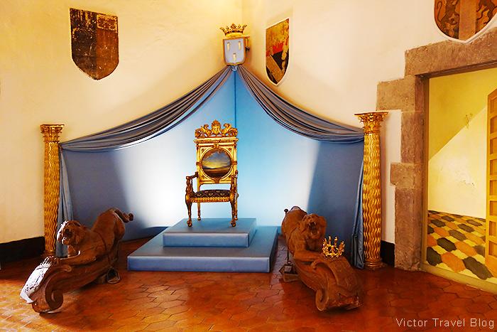 The throne of Gala Dali in the Pubol Castle. Catalonia, Spain.