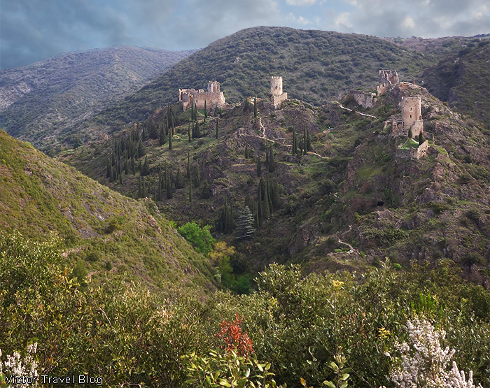 Chateaux de Lastours. The view from the Belvedere. Pays Cathare, Languedoc, France.