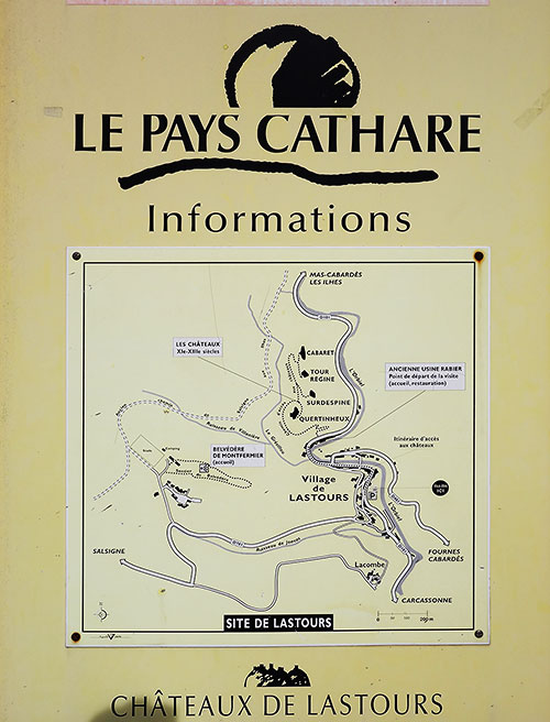 The map of the Chateaux de Lastours. Pays Cathare, Languedoc, France.