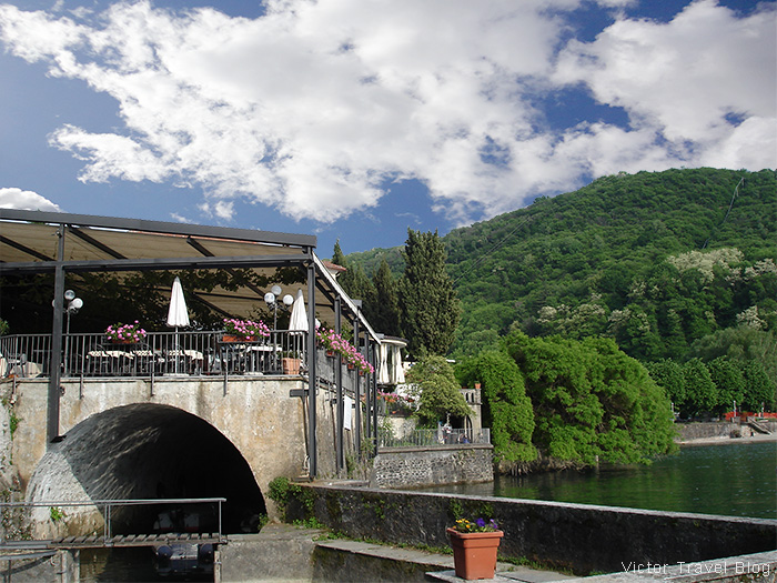The restaurant of Camin Hotel Colmegna, Lake Maggiore, Italy.