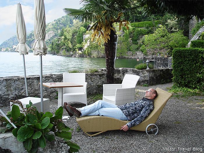 The resting zone of Camin Hotel Colmegna. Lake Maggiore, Italy.