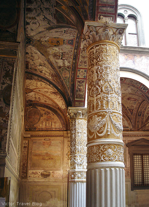 Decorated column in Florence, Italy.