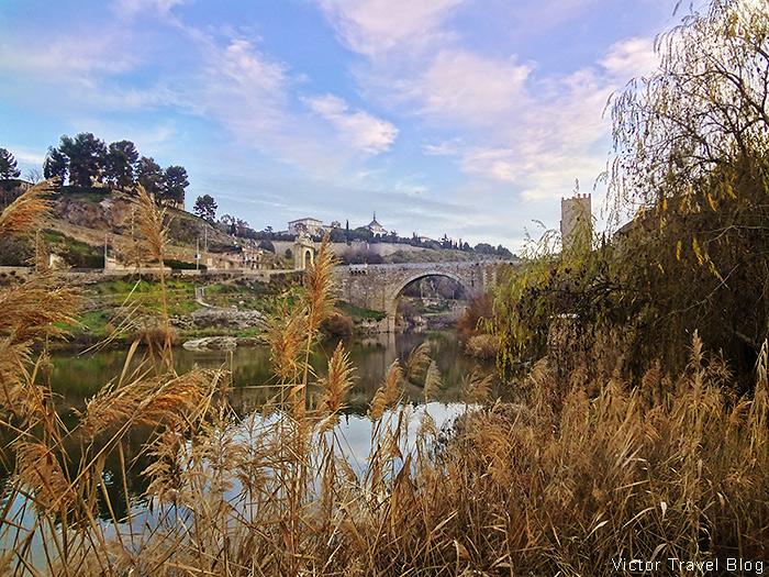 Alcantara Bridge or Puente de Alcantara. Toledo, Spain.