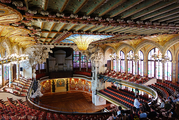 Inside of the Palace of Catalan Music. Barcelona, Spain.