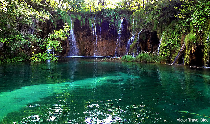 A waterfall. Plitvice Lake National Park. Croatia.