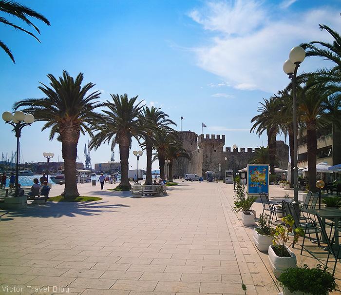 An embankment of Trogir, Croatia.