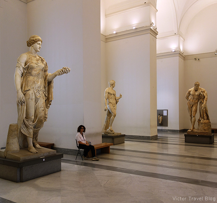 Antique statues of Naples Archaeological Museum, Italy.