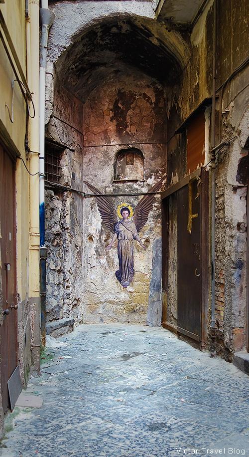 Angel. Graffiti in Naples, Italy.