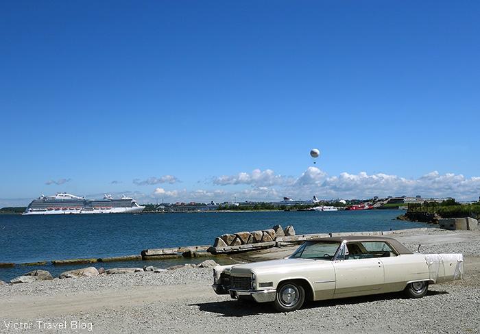 An old American car on the embankment of the Seaplane Harbour, Tallinn, Estonia.