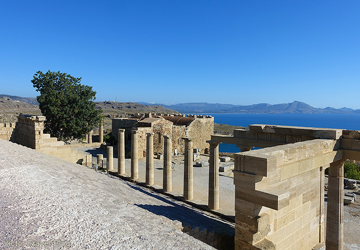 The acropolis in Lindos. The island of Rhodes, Greece.