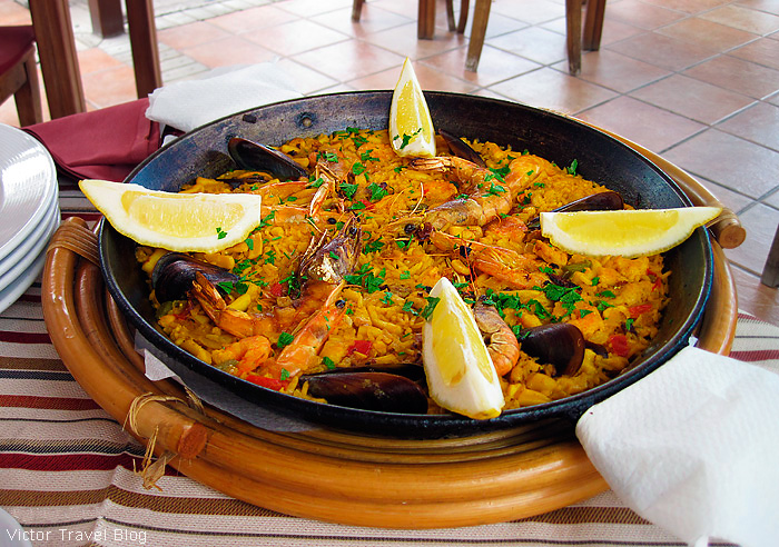 Seafood paella. Tenerife, Canary Islands, Spain.