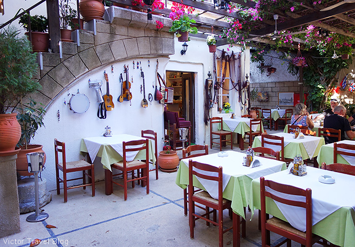 Symposium Restaurant Garden. The Old City of Rhodes, Greece.