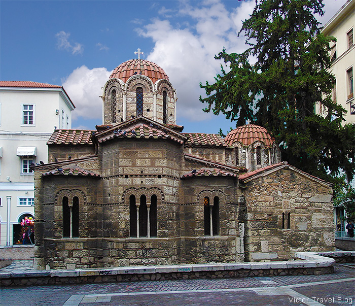 Very old Byzantine church in the center of Athens, Greece.