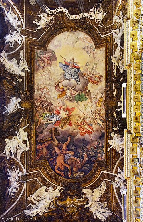 Decorated ceiling of Santa Maria della Vittoria, Rome, Italy.