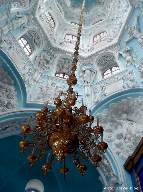 Inside of the Baroque church in Dubrovitsy, Russia.