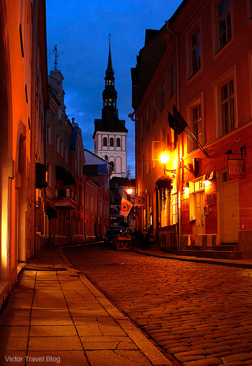 Old Town of Tallinn, Estonia, at night.