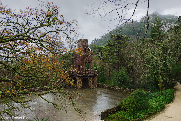 One of the towers of the garden of Quinta da Regaleira. Sintra, Portugal.