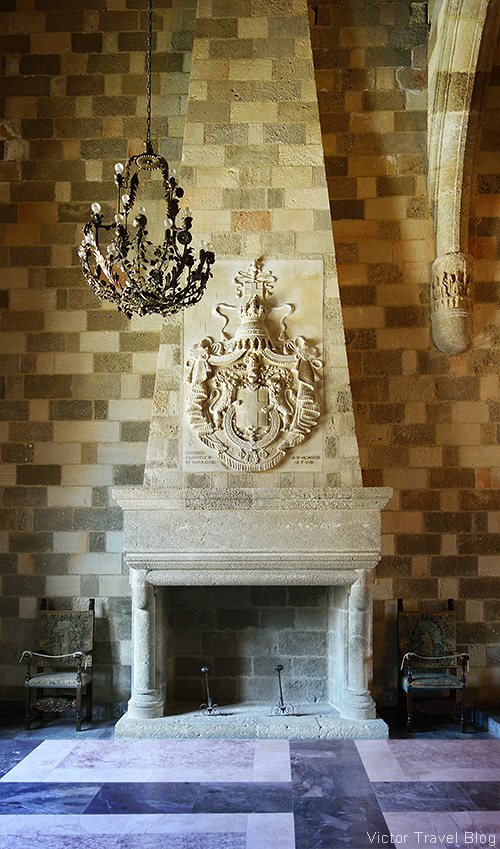 A fireplace in the Palace of the Grand Master, Rhodes city, Greece.