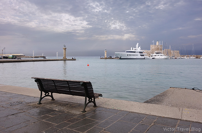 The harbour where the Colossus of Rhodes stood. Rhodes city, Greece.