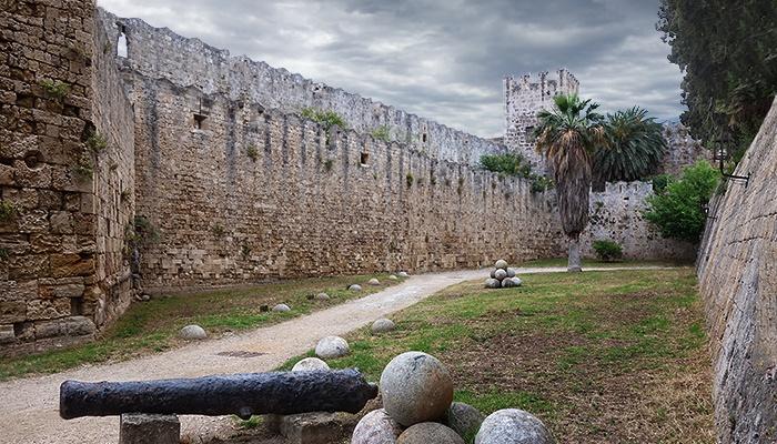 Medieval walls of Rhodes, Greece.