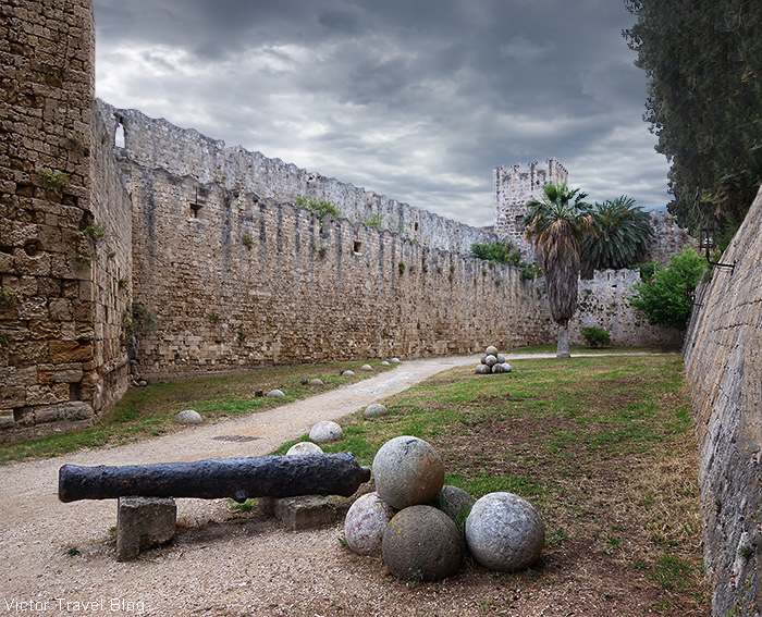 Medieval walls of Rhodes city, Greece.