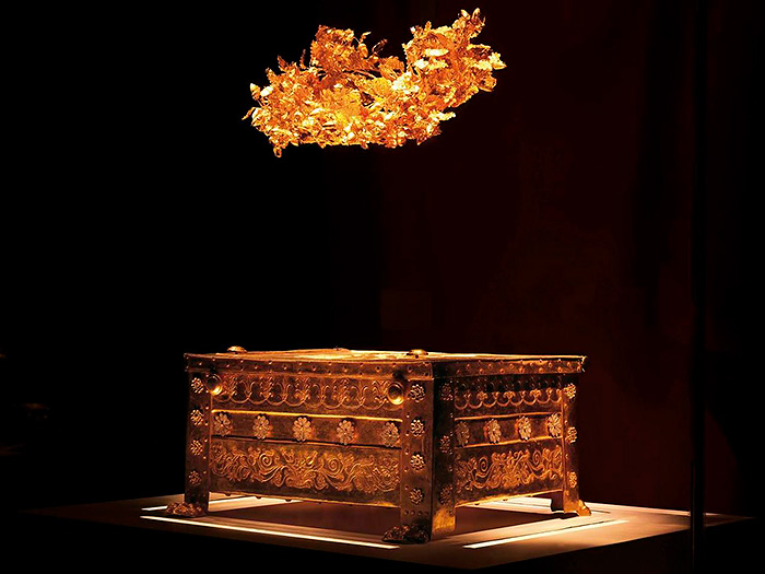 The golden casket with the remains of the Macedonian king, Philip II. Aigai, Vergina, Greece.