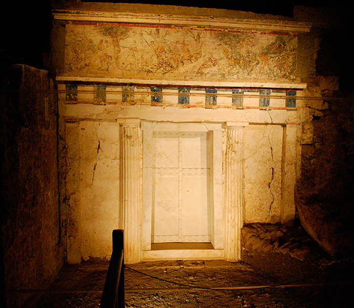 The entrance to the tomb of the Macedonian king, Philip II, Aigai, Vergina, Greece.