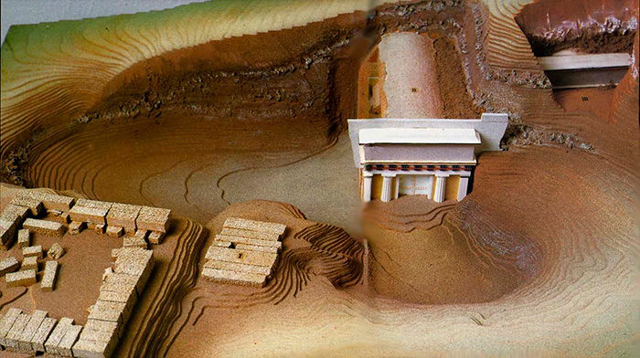 The layout of the tomb of the Macedonian king, Philip II, Aigai, Vergina, Greece.