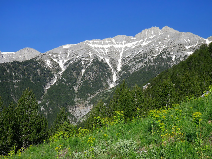 The four peaks of Mount Olympus, Greece.
