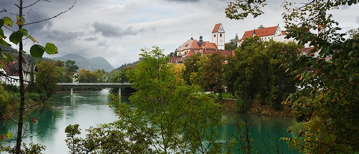 The river of Lech, Fuessen, Bavaria, Germany.