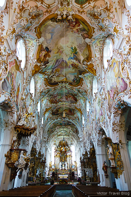 Inside of the Parish Church of Mariae Gedurt, Rottenbuch, Bavaria, Germany.