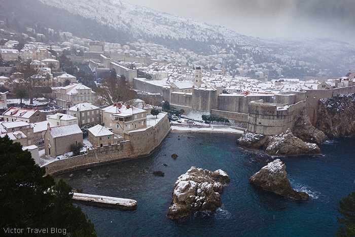 Dubrovnik in snow, Croatia.