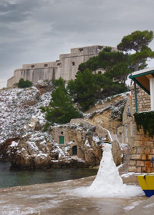 Dubrovnik in snow, Croatia.