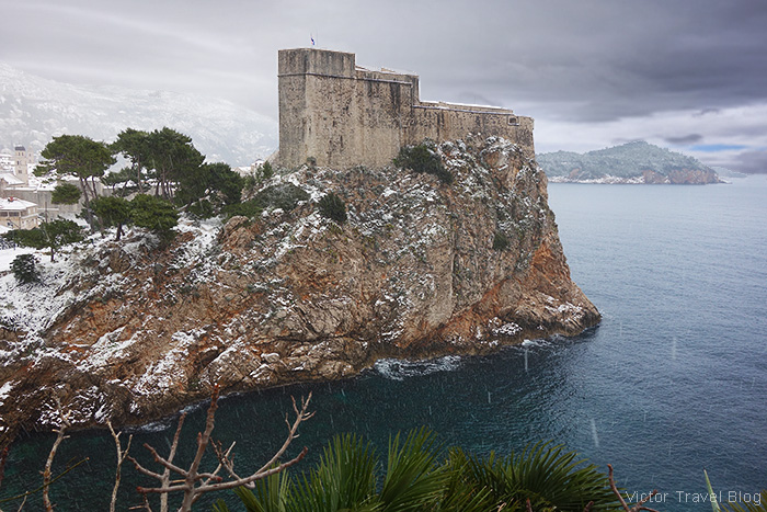 The Fort Lovrijenac in snow, Dubrovnik, Croatia.