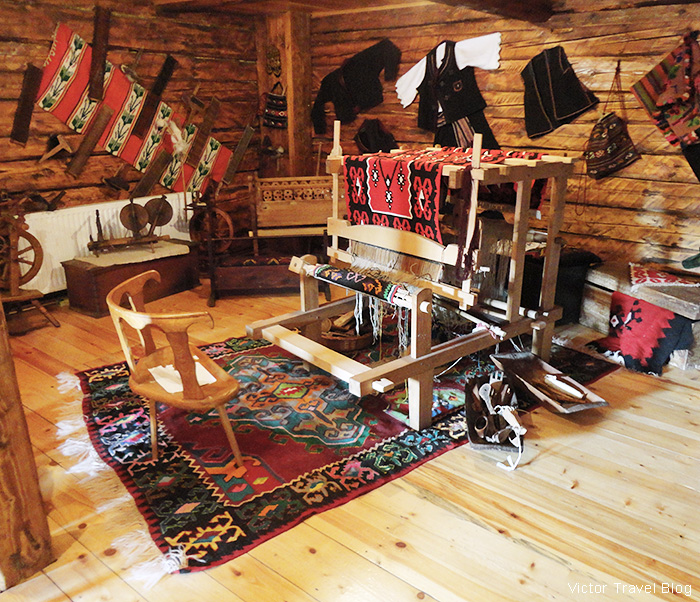 Antique furniture, household items, and folk costumes. The traditional village of Stanisici, Bosnia.