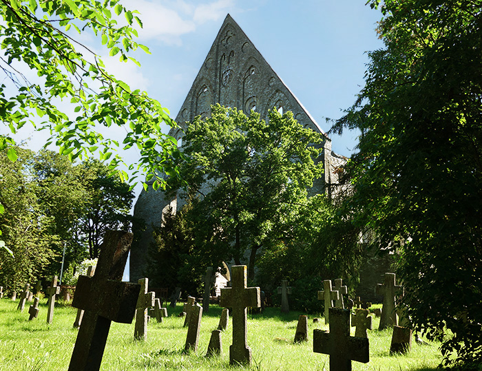 A cemetery. Pirita Convent Ruins Park, Tallinn, Estonia.