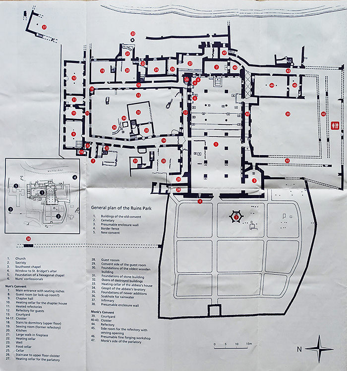 The map of Pirita Convent Ruins Park, Tallinn, Estonia.