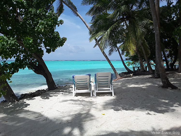 The beach of Fihalhohi Island Resort, the Maldives.