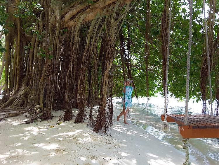 A swing. Fihalhohi Island Resort, the Maldives.